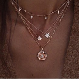 black gold filled jewelry 2019 - Fashion Multiple Layers Cross Necklaces For Women Charm Gold Color Chokers Necklace Boho Collares Female Party Jewelry A