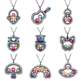Memory Locket Pendant Wholesale Australia - Multicolor Butterfly Cross More Style Living Memory Magnetic Glass Floating Locket Pendant Necklace Pearl Cage Crystal Necklace Charms