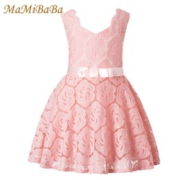 girls dress 16 years 2019 - Baby Girls Dresses 2019 New Summer Solid Cotton Lace Lovely Princess A-line Knee-length Dress For 3-16 Year Child Clothi