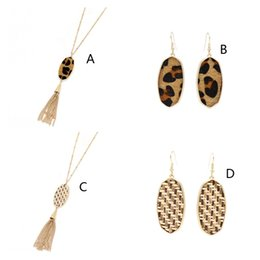New York Necklace Australia - New Fashion Hexagon Pendant Tassel Necklaces Earrings Straw Leopard Print Braided Sweater Long Chian Necklace New York Kendra Scott Jewelry