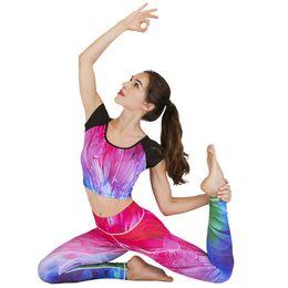 women colorful yoga pants 2019 - GXQIL Workout Clothes Women Colorful Yoga Set Gym Woman Sportswear Leggings Sport T-shirt Fitness Sports Suit Active Wea