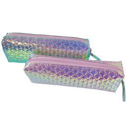 China Mermaid Scale Pencil Case Laser Glitter Pencil Bag School Creative Pencilcase For Girls Gift Kawaii Stationery Office Supplies cheap stationery wholesale glitter suppliers