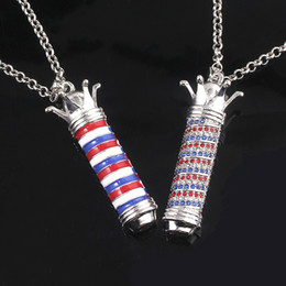 $enCountryForm.capitalKeyWord Australia - Hip hop Jewelry Tricolor column Necklace Red blue and white color crown pendant Fashion Jewelry For Man Woman