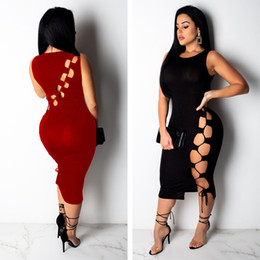 Red Dresses Black Tights Australia - Lace-up dress summer stretch dresses Party clothing Summer sleeveless dress woman clothes tight skirt Bodycon Dresses 2488
