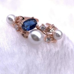Pearl rings Prongs online shopping - luxury jewelry S925 sterling silver rings peal leaves open rings for women hot fashion free of shipping
