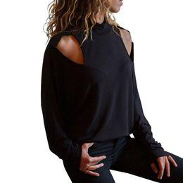 Pop Tees Australia - Women Cold Shoulder T-Shirts Turtleneck Cut Out Long Sleeve Tee Tops Autumn Pop Boho Loose T Shirts Fashion US Tops