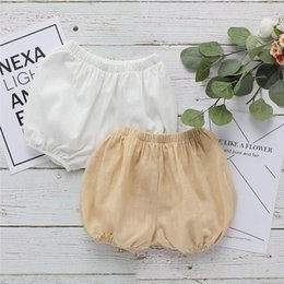 Organic Cotton Lace Wholesale NZ - Designs Newest INS Baby Kids Girls Bloomers Blank White Beige Linen Organic Cotton Baby Girls Shorts PP Pants Designer Kids Clothing