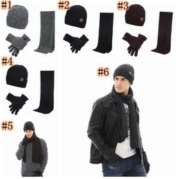 wholesale ski suits NZ - Autumn and Winter Outdoor Warm Beanies Hat Skiing Sport Windproof Cap Knited Hat Scarf Touch Screen Gloves Three-piece Suit Gift ZZA917