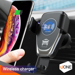 Wholesale C12 Wireless Car Charger W Fast Wireless Charger Car Mount Air Vent Gravity Phone Holder Compatible for iphone samsung all Qi Devices