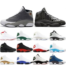 Table Cat Box Australia - 2019 New 13 13s Cap And Gown Atmosphere Grey For Men Phantom Basketball Shoes Flint DMP Chicago Black Cat Mens Trainers Sneakers 41-47