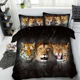 3d animal comforter bedding sets Canada - 3D Tiger Lion Leopard Pattern Duvet Cover with Pillow Shams Bedding Set 3 Pieces Polyester Quilt Cover Zipper Closure NO Comforter