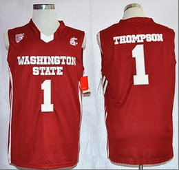 e942ea493d34 NCAA Mens throwback Washington State Cougars Thompson College Basketball  Jerseys Cheap Red  1 Thompson Stitched outdoor Shirts hot sell