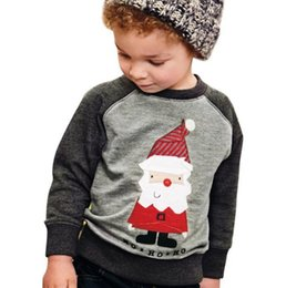 Discount shield clothes - Children's Hooded autumn and winter Santa embroidered children's baby sweater long-sleeved sweater Christmas c