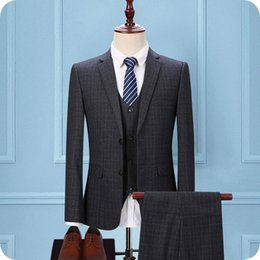 Grey Check Piece Suit Australia - Custom Made Grey Grid Men Suits for Wedding Slim Fit Check Groom Tuxedos 3Piece (Coat+Pants+Vest) Groomsmen Wedding Suit Blazers Man Jacket