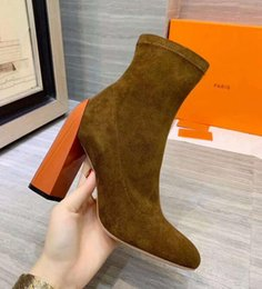 lady snow boots mid calf Australia - Fashion H Womens Ankle Half Boots Martin Ladies Chunky High Heel 10.5CM Pointed Toes Mid-Calf Suede Booties SZ35-41