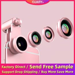 cameras effects NZ - 4 In 1 Fisheye Wide Angle Macro Mobile Polarized Phone Camera Lens HD External Telephoto SLR Special Effects Clip Non-slip For Smartphone