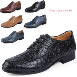 rubber crocodiles Canada - Sycatree 2019 New Crocodile Leather Men's Fashion Casual Shoes Lace-up Dress Shoes Men's Business Boots Super Big Plus Size 50