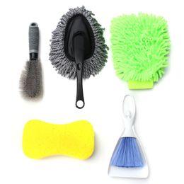 Universal 5 PCS Car Washing Interior Exterior Kit Products Tools Set Including Brush+Sponge+Glove+Wax Drag free shipping on Sale