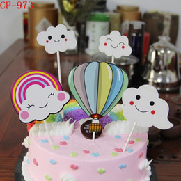 cloud decorations party 2019 - Creative Smiling Face Clouds Colorful Hot Air Balloon Rainbow Wedding Kids Birthday Party Baked Cake Decoration Card Fla