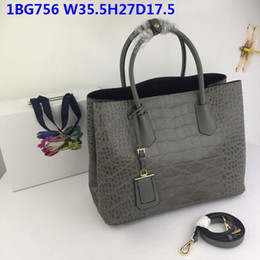 CroCheted tote bags online shopping - 2019 Latest female Leather totes Real leather crocodile grain sheepskin inner double handles cm large volume casual bags