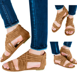 8c23f51043bb4f MUQGEW Brown Vintage Women Open Toe Breathable Beach Zipper Sandals Rome  Casual Flat Shoes 35-43 Size New Arrival  24