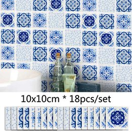 Furniture Wall Stickers Australia - Blue Frosted Mosaic Wall Sticker DIY Decor Furniture Sticker Kitchen Bathroom Decorative Tile Wallpaper Mural 3D Decal Waistline Stickers