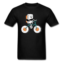 bicycle sales NZ - Hot Sale New Trendy Funny Cartoon T Shirts Sushi Bicycling Men Tshirt Interesting Kawaii Printed Tshirt 90s Style Happy T-Shirt