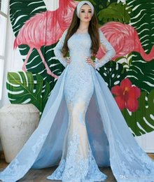 $enCountryForm.capitalKeyWord Australia - 2020 Light Blue Evening Dresses With Detachable Train Appliqued Lace Long Sleeve Prom Dress Custom Made Plus Size Cocktail Party Gowns