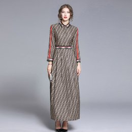 Wholesale long midi skirts resale online - 100 Polyester Materials Fashionable Women s Long Dresses Lapel Neck Long Sleeve Autumn Dress Beauty Printing Skirts