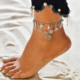 Anklets new designs online shopping - New Design Leaf Flower Multilayer Anklet Vintage Spiral Style Round Pendant Anklet For Women Charm Chains Sand Barefoot Sandals Foot Jewelry