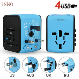 fuse adapter Australia - AC 100V-250V Universal smart travel charger EU US UK AU multi-function travel charging adapter 4 USB port 5V 3.4A with Security Fuse