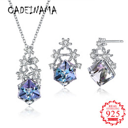 $enCountryForm.capitalKeyWord Australia - CADEINAMA Fashion Snowflake Austria Crystal Pendant Necklace Stud Earrings Set 925 Sterling Silver Girl Women Fine Jewelry Party