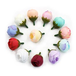 Tea Box Diy Australia - 10Pcs Silk Mini Tea Bud Rose Artificial Flowers for Wedding Home Decoration DIY Handmade Wreath Scrapbook Craft Gifts Box Decor