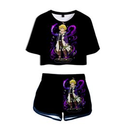 anime clothing styles UK - Anime Nanatsu No Taizai 3D Print Crop Tops+Shorts 2 Pieces Set Suit Women Fit Hip Hop Casual Style Clothes Free Shipping