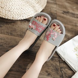 $enCountryForm.capitalKeyWord Australia - Brand cartoon pink panther fretwork slippers women flipflop summer open toe flat shoes home anti-skid slippers beach sandals