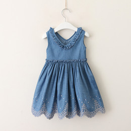 58126d3912e Baby Girl clothes Denim dress Ruffles V Neck Sleeveless Embroidery sweep  Cotton Blue 2-6Y Wholesale 2019 Summer