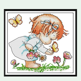 Discount painting butterfly girl - Little Girl Love Butterfly Flower Counted Cross Stitch 11 14CT Embroidery Kits Painting DIY Needlework DMC Set Living Ro
