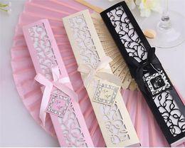 $enCountryForm.capitalKeyWord NZ - Chinese Silk Folding Luxurious Silk Fold Hand Fan in Elegant Laser-Cut Gift Box Party Favors Wedding Gifts WN483 200pc