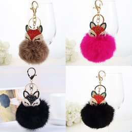 Artificial Chains Wholesalers Australia - Fashion Fur Ball with Artificial Rabbit Fur Inlay Pearl Rhinestone Fun Key Chain z