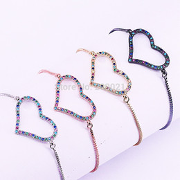 $enCountryForm.capitalKeyWord Australia - 10Pcs Mix Color Rainbow Cubic Zirconia Micro Pave Heart Connectors Bracelet Charm, Women Jewelry