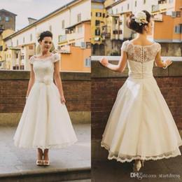 $enCountryForm.capitalKeyWord Australia - Vintage Tea Length Wedding Dress Boho Ivory Cap Sleeve Bohemian Wedding Dress Lace Sheer Neck Cheap Flower Sash Plus Size Wedding Gown Short