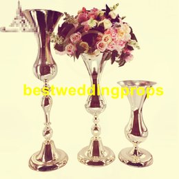 trumpet decorations Canada - New Design Trumpet Metal Flower Vase Stand Table Centerpieces for Wedding Event Party Hotel Home Usage best0605