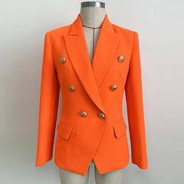 Lion Suit Australia - HIGH QUALITY Newest 2019 Designer Blazer Women's Lion Buttons Double Breasted Blazer Jacket Neon Orange Classic female suit