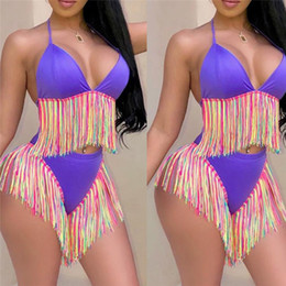purple fringe bathing suits Australia - Sexy Long Tassel Bikini Set Women Vintage Fringe Women Low Waist Swimsuit Wear Push Up Bikini 2019 Purple Black Bathing Suits