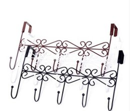 metal wardrobes Canada - Iron Door Back Hook Nail-free Trackless 5 Hooks Clothes Hat Hanger European Style Creative Bathroom Bedroom Wardrobe Hook