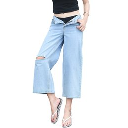 China New Denim Jeans For Women 2019 High Waist Cotton Wide Leg Jeans Loose Straight Ankle Length Pants Female #9593 supplier jeans loose legs for women suppliers