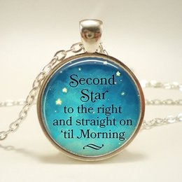 peter pan jewelry pendant necklace Australia - Second Star To The Right Pendant, Peter Pan Quote Jewelry, Literary Quote Necklace, Handmade Glass Silver Chain Necklace
