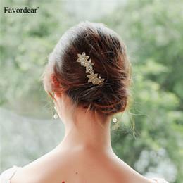Hair plaits accessories online shopping - Festival Gold Wedding Hair Accessories Bridal Hair Stick Floral Hairpin Beautiful Headdress Plait Clip Vine Accessories
