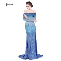 0406ce25ff Dazzling Boat-neck Sexy Design Evening Dresses Long Heavy Beaded Off the  Shoulder Full Sleeve Royal Blue Mermaid Prom Dress Part