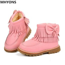 Shoes For Girls Winter Australia - Fringe Girls Boots Fur Thick Warm Children's Shoes 2018 New Shoes For Boys Top Quality Baby Cotton Zip Kids Snow Boots Winter